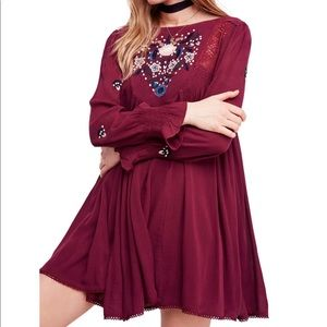 Free People Embroidered Mini dress S NWT